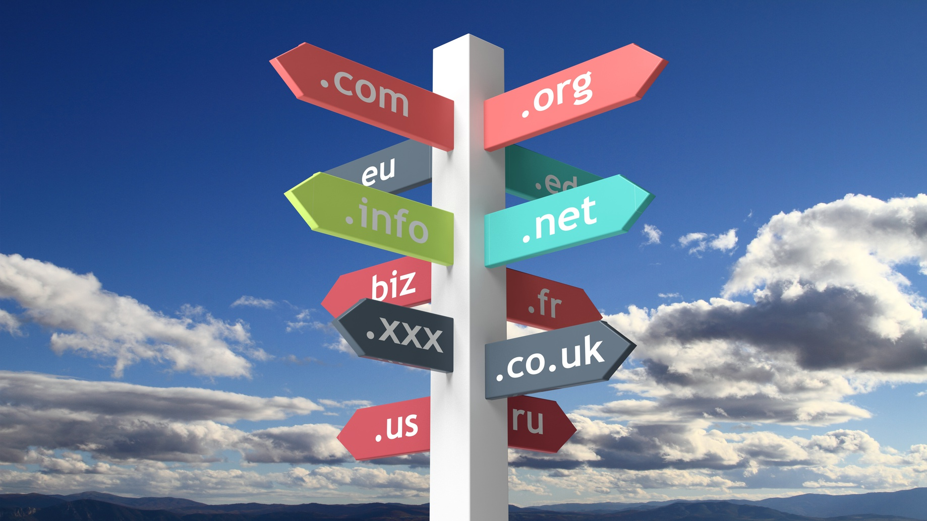 Signpost with domain names with blue skybackground