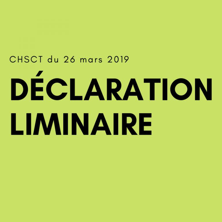 CHSCT 26 mars 2019